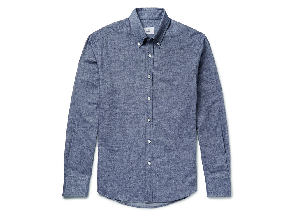 Dunhill button-down brushed cotton-chambray shirt